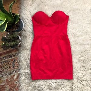 Nasty Gal Red Strapless Dress